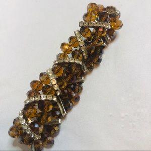 Vtg. Tangerine Sun Aura Glass bead Quartz Bracelet